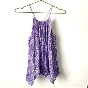 Milly of New York Purple White Leaf Print Tank Top